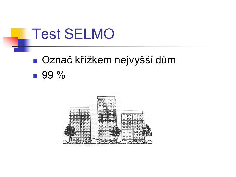 Test SELMO Označ křížkem nejvyšší dům 99 %
