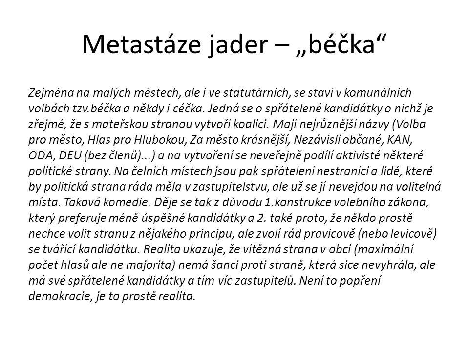"""Metastáze jader – """"béčka Zejména na malých městech, ale i ve statutárních, se staví v komunálních volbách tzv.béčka a někdy i céčka."""