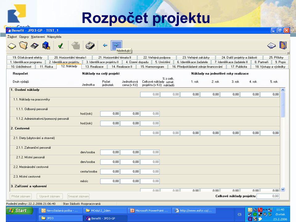 10.12. 2007, Havlíčkův BrodŠkolení projektových manažerů Rozpočet projektu