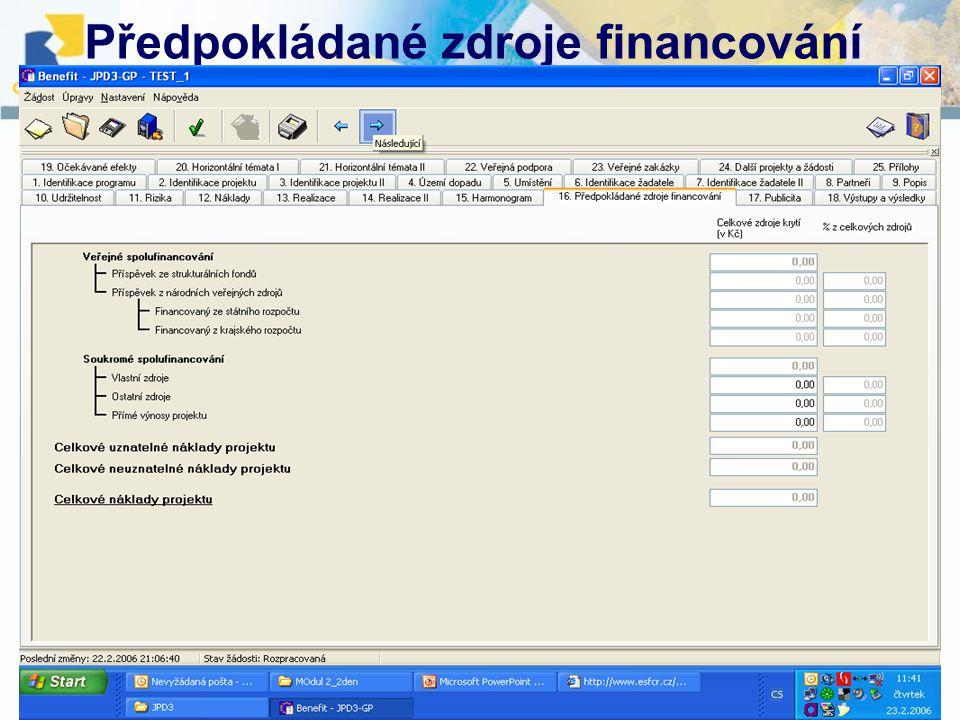 10.12. 2007, Havlíčkův BrodŠkolení projektových manažerů Předpokládané zdroje financování