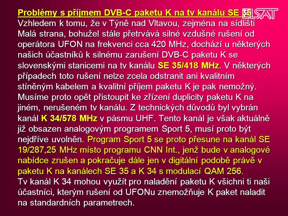 Problémy s příjmem DVB-C paketu K na tv kanálu SE 35 Vzhledem k tomu, že v Týně nad Vltavou, zejména na sídlišti Malá strana, bohužel stále přetrvává