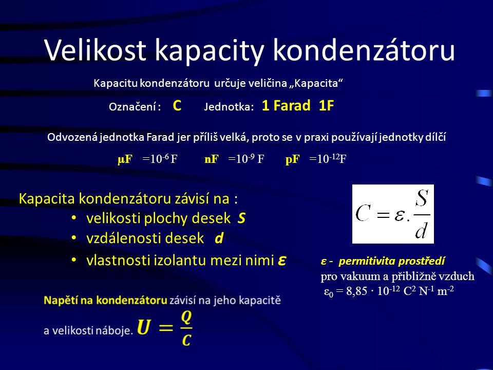 """Velikost kapacity kondenzátoru Kapacitu kondenzátoru určuje veličina """"Kapacita Označení : C Jednotka: 1 Farad 1F Odvozená jednotka Farad jer příliš velká, proto se v praxi používají jednotky dílčí µF=10 -6 FnF=10 -9 FpF=10 -12 F Kapacita kondenzátoru závisí na : velikosti plochy desek S vzdálenosti desek d vlastnosti izolantu mezi nimi ε ε - permitivita prostředí pro vakuum a přibližně vzduch ε 0 = 8,85 ∙ 10 -12 C 2 N -1 m -2"""
