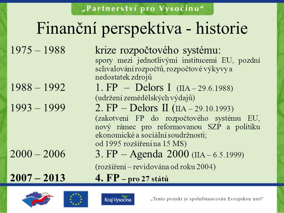 Finanční perspektiva - historie 1975 – 1988krize rozpočtového systému: spory mezi jednotlivými institucemi EU, pozdní schvalování rozpočtů, rozpočtové