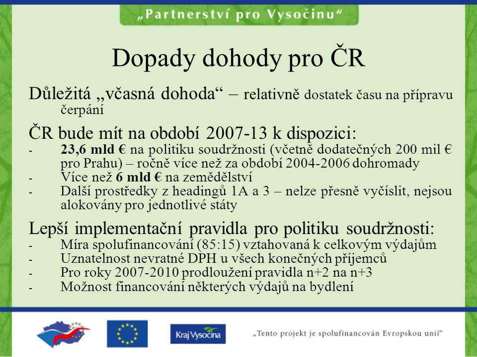 """Dopady dohody pro ČR Důležitá """"včasná dohoda"""" – relativně dostatek času na přípravu čerpání ČR bude mít na období 2007-13 k dispozici: - 23,6 mld € na"""