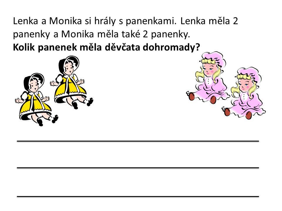 Lenka a Monika si hrály s panenkami. Lenka měla 2 panenky a Monika měla také 2 panenky. Kolik panenek měla děvčata dohromady?