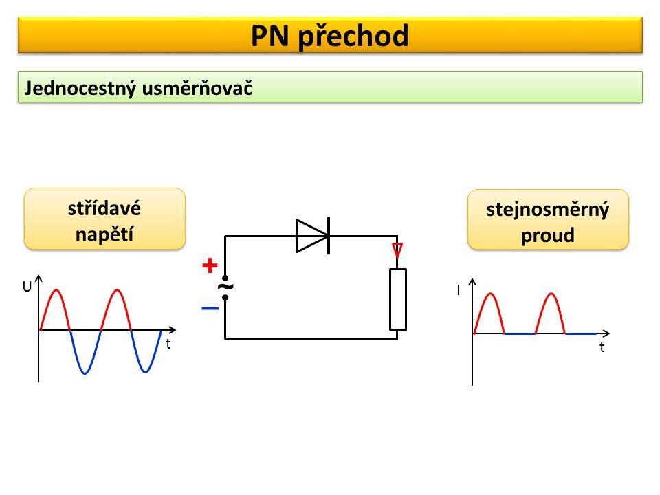 Dvojcestný usměrňovač PN přechod t U t I střídavé napětí střídavé napětí stejnosměrný proud