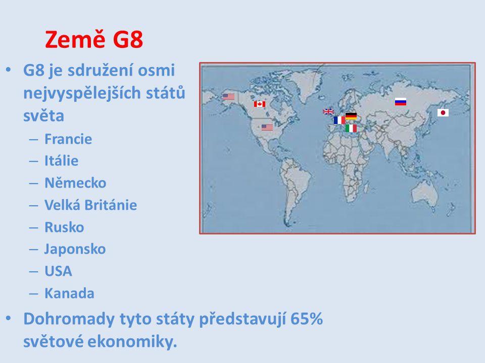 Země G8 G8 je sdružení osmi nejvyspělejších států světa – Francie – Itálie – Německo – Velká Británie – Rusko – Japonsko – USA – Kanada Dohromady tyto