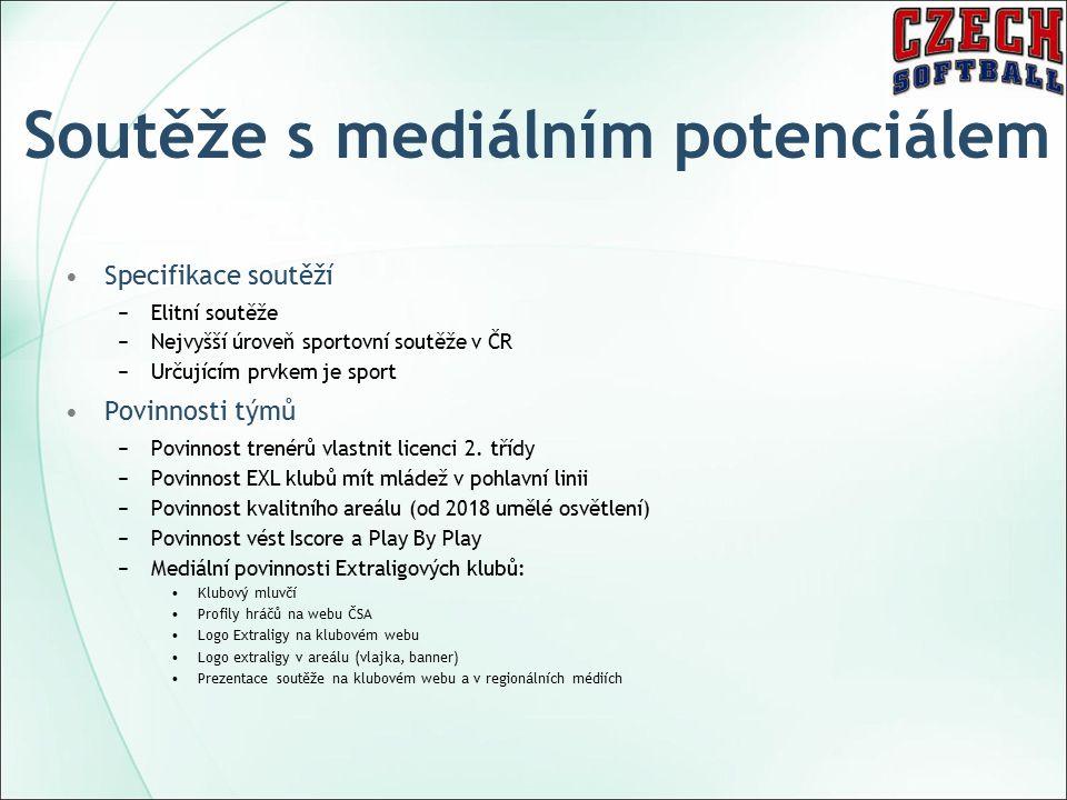 Soutěže s mediálním potenciálem Specifikace soutěží −Elitní soutěže −Nejvyšší úroveň sportovní soutěže v ČR −Určujícím prvkem je sport Povinnosti týmů −Povinnost trenérů vlastnit licenci 2.