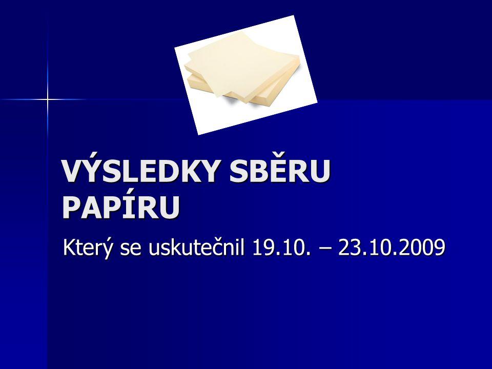 VÝSLEDKY SBĚRU PAPÍRU Který se uskutečnil 19.10. – 23.10.2009