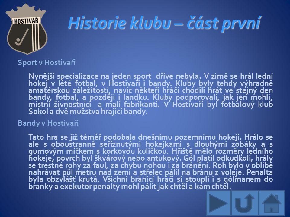 Historie klubu – část první Sport v Hostivaři Nynější specializace na jeden sport dříve nebyla.