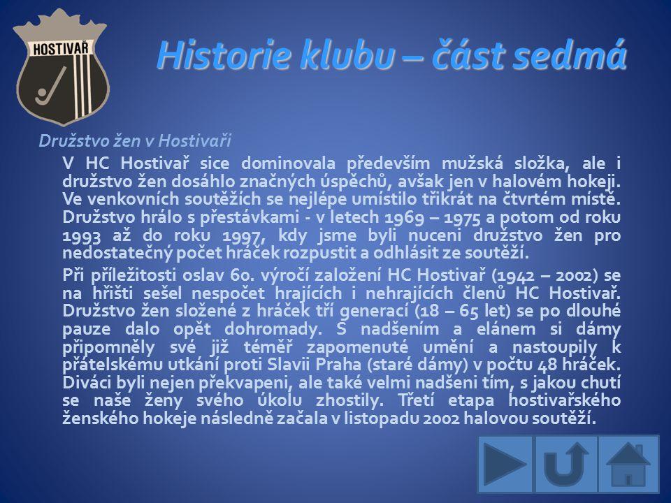 Historie klubu – část sedmá Družstvo žen v Hostivaři V HC Hostivař sice dominovala především mužská složka, ale i družstvo žen dosáhlo značných úspěchů, avšak jen v halovém hokeji.