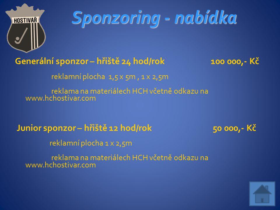 Sponzoring - nabídka Generální sponzor – hřiště 24 hod/rok 100 000,- Kč reklamní plocha 1,5 x 5m, 1 x 2,5m reklama na materiálech HCH včetně odkazu na www.hchostivar.com Junior sponzor – hřiště 12 hod/rok 50 000,- Kč reklamní plocha 1 x 2,5m reklama na materiálech HCH včetně odkazu na www.hchostivar.com