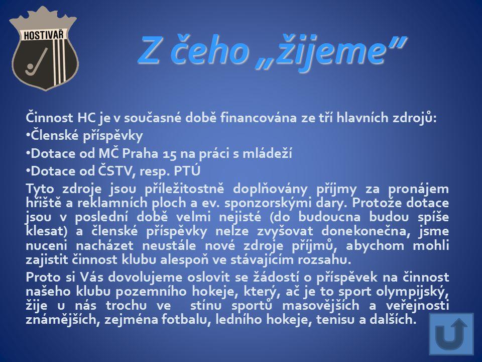 """Z čeho """"žijeme Činnost HC je v současné době financována ze tří hlavních zdrojů: Členské příspěvky Dotace od MČ Praha 15 na práci s mládeží Dotace od ČSTV, resp."""