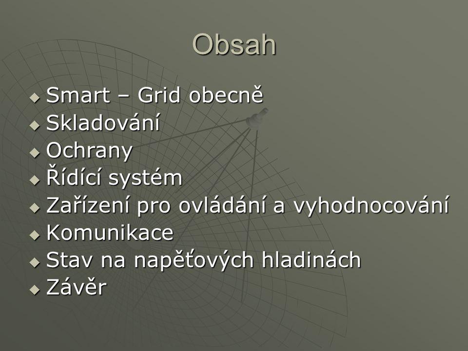 Obsah  Smart – Grid obecně  Skladování  Ochrany  Řídící systém  Zařízení pro ovládání a vyhodnocování  Komunikace  Stav na napěťových hladinách  Závěr