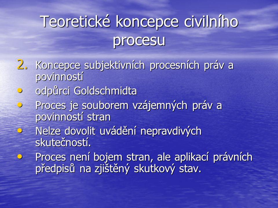 Teoretické koncepce civilního procesu 2. Koncepce subjektivních procesních práv a povinností odpůrci Goldschmidta odpůrci Goldschmidta Proces je soubo
