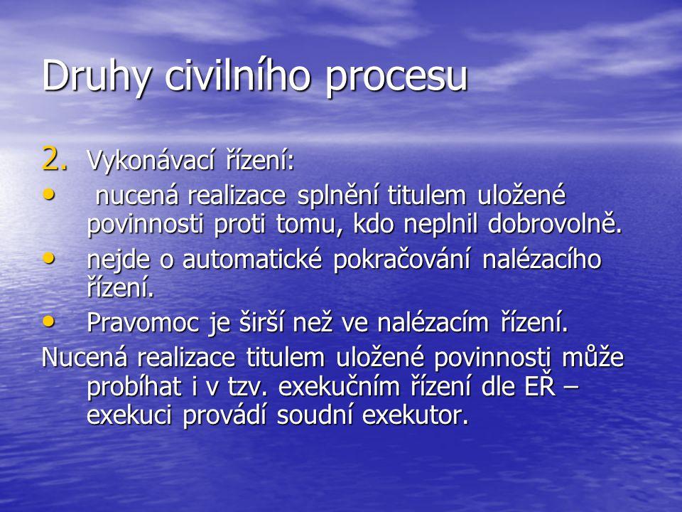 Druhy civilního procesu 2. Vykonávací řízení: nucená realizace splnění titulem uložené povinnosti proti tomu, kdo neplnil dobrovolně. nucená realizace