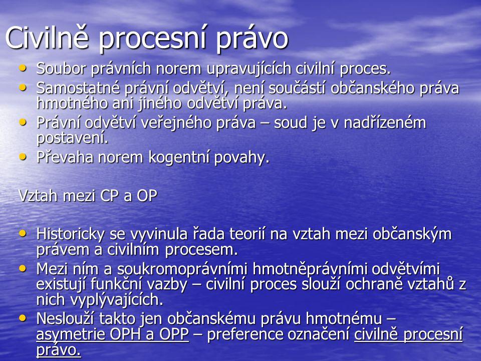 Civilně procesní právo Soubor právních norem upravujících civilní proces. Soubor právních norem upravujících civilní proces. Samostatné právní odvětví