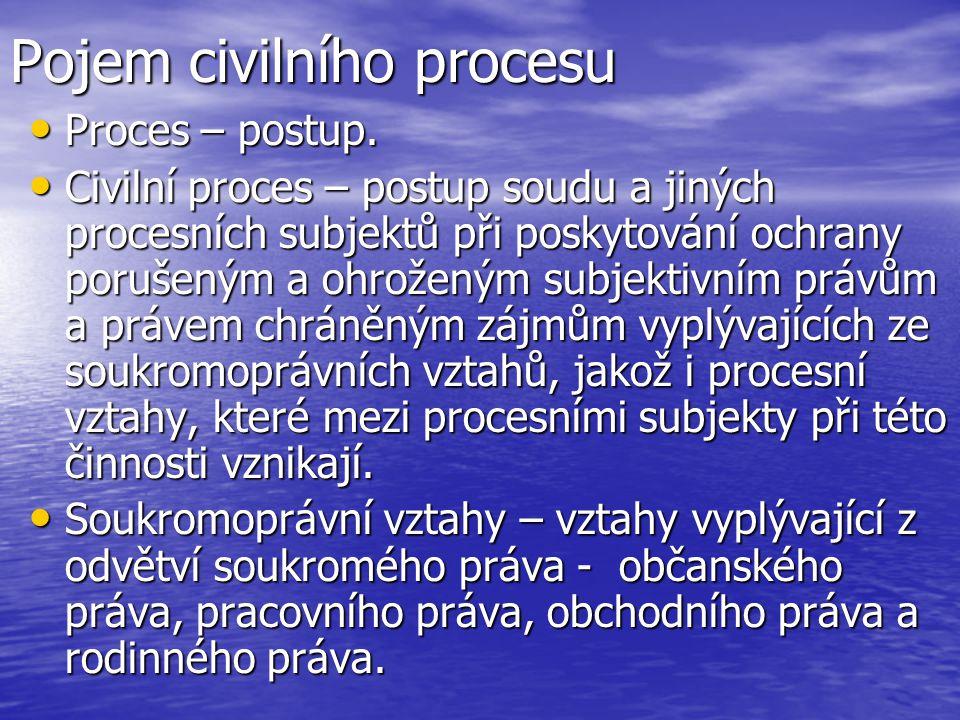 Pojem civilního procesu Proces – postup. Proces – postup. Civilní proces – postup soudu a jiných procesních subjektů při poskytování ochrany porušeným