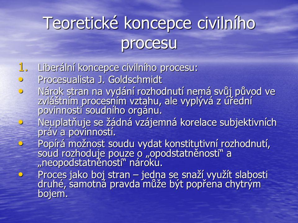 Teoretické koncepce civilního procesu 1. Liberální koncepce civilního procesu: Procesualista J. Goldschmidt Procesualista J. Goldschmidt Nárok stran n