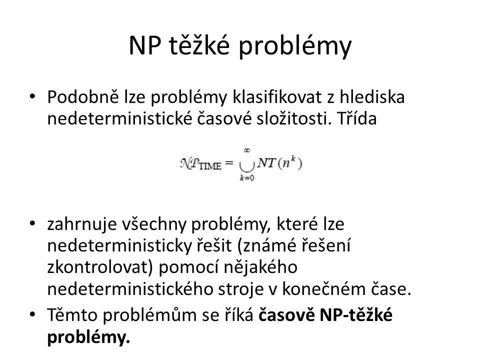 NP těžké problémy Podobně lze problémy klasifikovat z hlediska nedeterministické časové složitosti. Třída zahrnuje všechny problémy, které lze nedeter