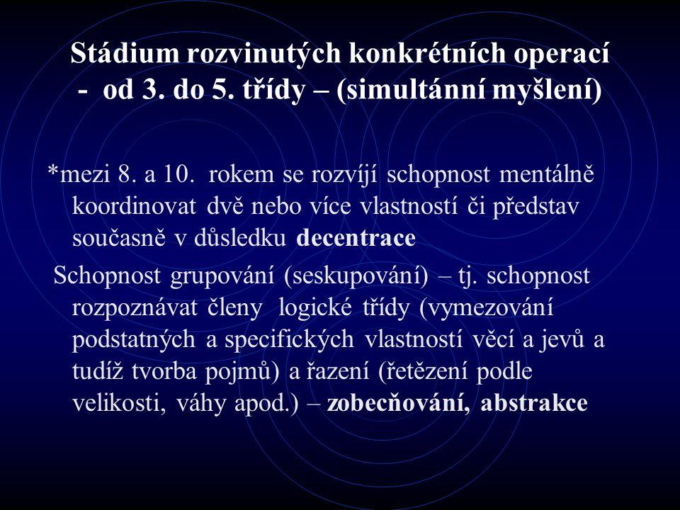 Stádium rozvinutých konkrétních operací - od 3. do 5.