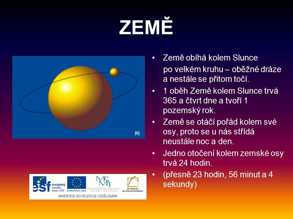 ZEMĚ Země obíhá kolem Slunce po velkém kruhu – oběžné dráze a nestále se přitom točí. 1 oběh Země kolem Slunce trvá 365 a čtvrt dne a tvoří 1 pozemský