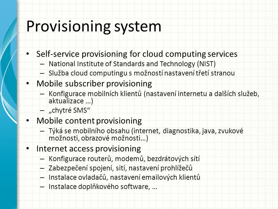 Provisioning system Analýza komplexnosti uvažované oblasti Analýza služeb Analýza nákladů a přínosů Návrh systému (db, core, frontend, …) Implementace systému + testování Ostré nasazení