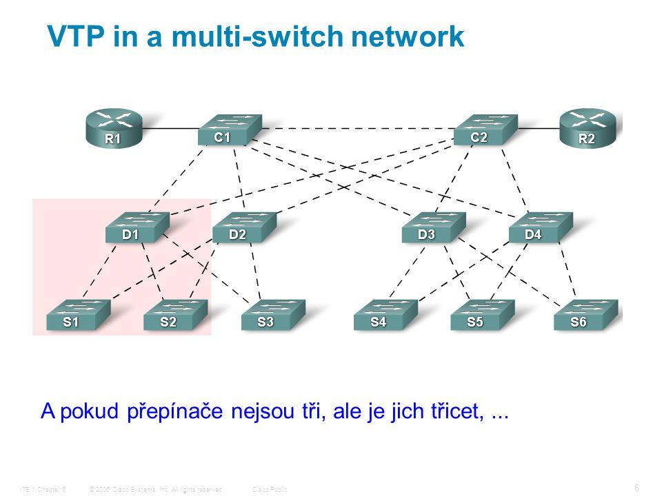 © 2006 Cisco Systems, Inc. All rights reserved.Cisco PublicITE 1 Chapter 6 6 VTP in a multi-switch network A pokud přepínače nejsou tři, ale je jich t