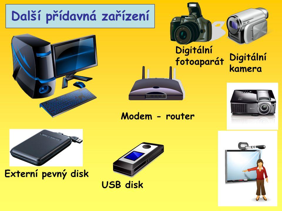 Další přídavná zařízení Externí pevný disk USB disk Digitální fotoaparát Digitální kamera Modem - router