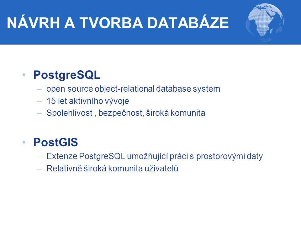 PostgreSQL –open source object-relational database system –15 let aktivního vývoje –Spolehlivost, bezpečnost, široká komunita PostGIS –Extenze Postgre
