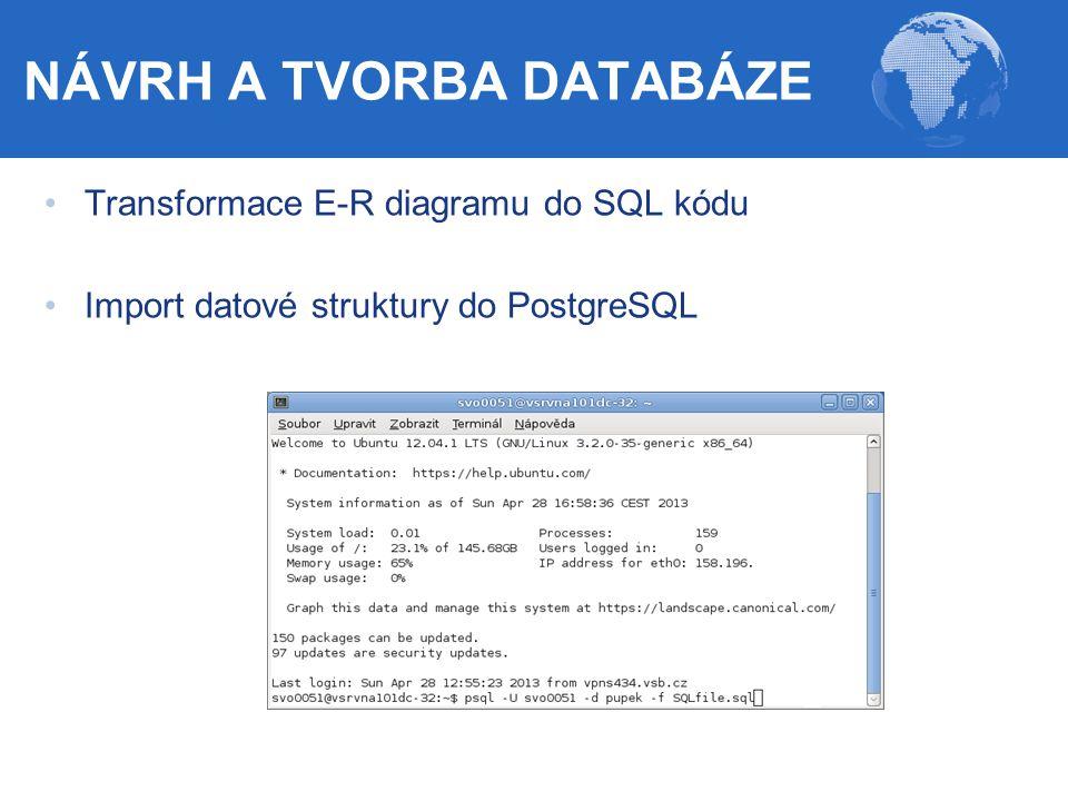 Transformace E-R diagramu do SQL kódu Import datové struktury do PostgreSQL NÁVRH A TVORBA DATABÁZE