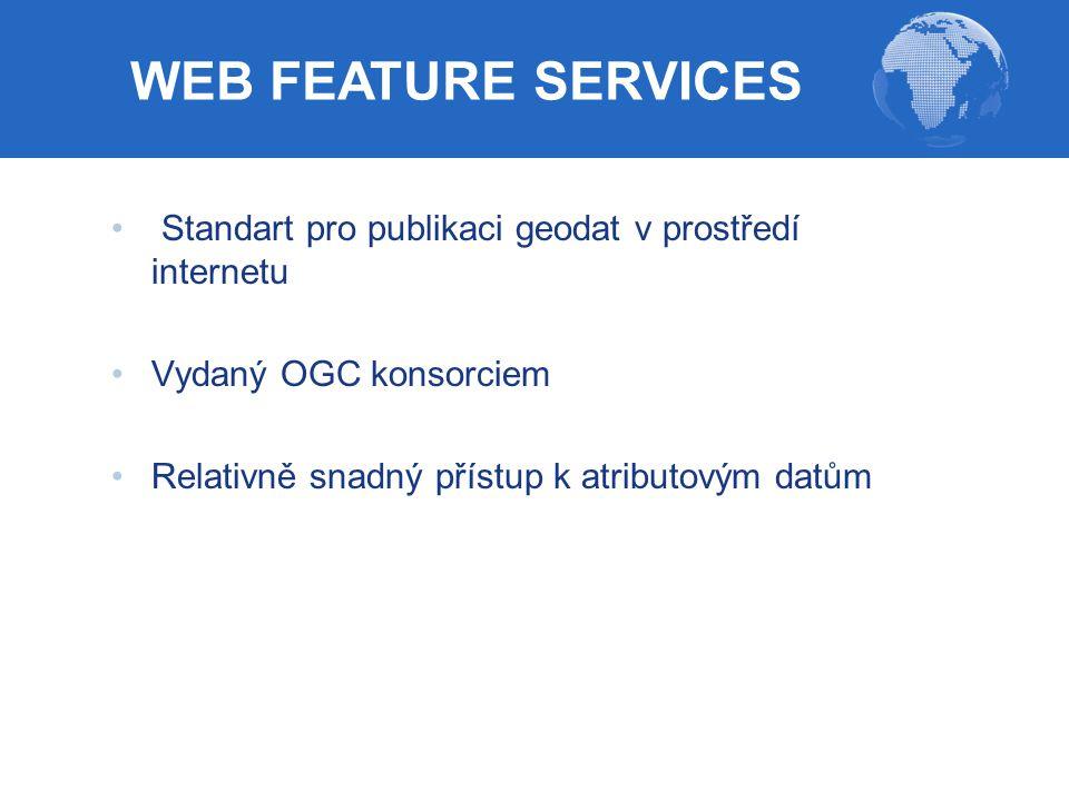 Standart pro publikaci geodat v prostředí internetu Vydaný OGC konsorciem Relativně snadný přístup k atributovým datům WEB FEATURE SERVICES