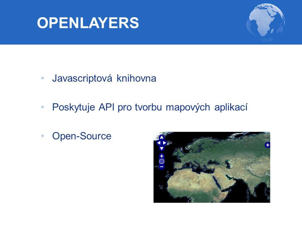 Javascriptová knihovna Poskytuje API pro tvorbu mapových aplikací Open-Source OPENLAYERS