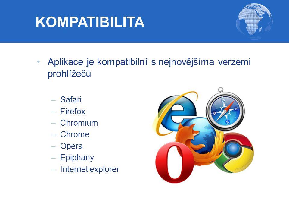 Aplikace je kompatibilní s nejnovějšíma verzemi prohlížečů –Safari –Firefox –Chromium –Chrome –Opera –Epiphany –Internet explorer KOMPATIBILITA
