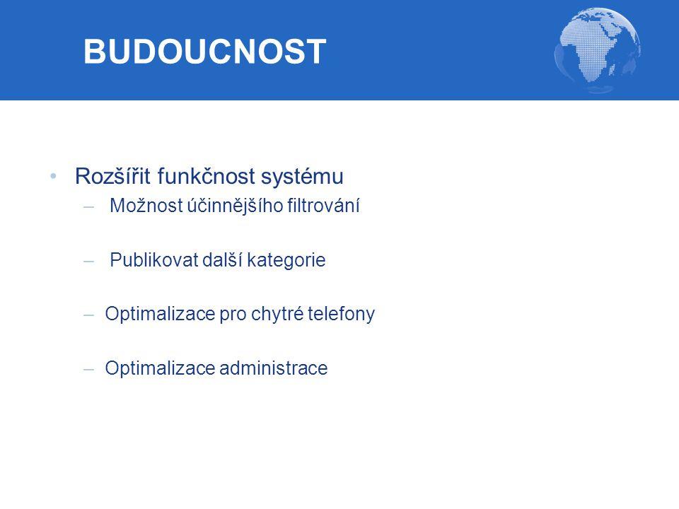 Rozšířit funkčnost systému – Možnost účinnějšího filtrování – Publikovat další kategorie –Optimalizace pro chytré telefony –Optimalizace administrace