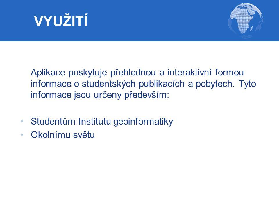 Aplikace poskytuje přehlednou a interaktivní formou informace o studentských publikacích a pobytech. Tyto informace jsou určeny především: Studentům I