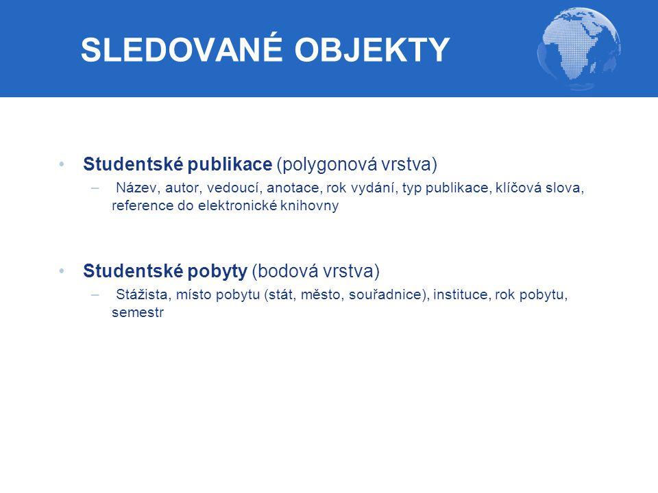 SLEDOVANÉ OBJEKTY Studentské publikace (polygonová vrstva) – Název, autor, vedoucí, anotace, rok vydání, typ publikace, klíčová slova, reference do el