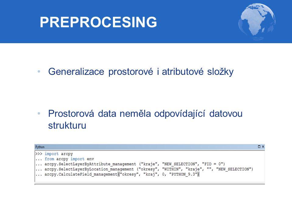 Generalizace prostorové i atributové složky Prostorová data neměla odpovídající datovou strukturu PREPROCESING