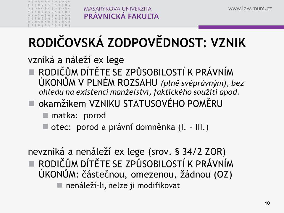 www.law.muni.cz 10 RODIČOVSKÁ ZODPOVĚDNOST: VZNIK vzniká a náleží ex lege RODIČŮM DÍTĚTE SE ZPŮSOBILOSTÍ K PRÁVNÍM ÚKONŮM V PLNÉM ROZSAHU (plně svéprá