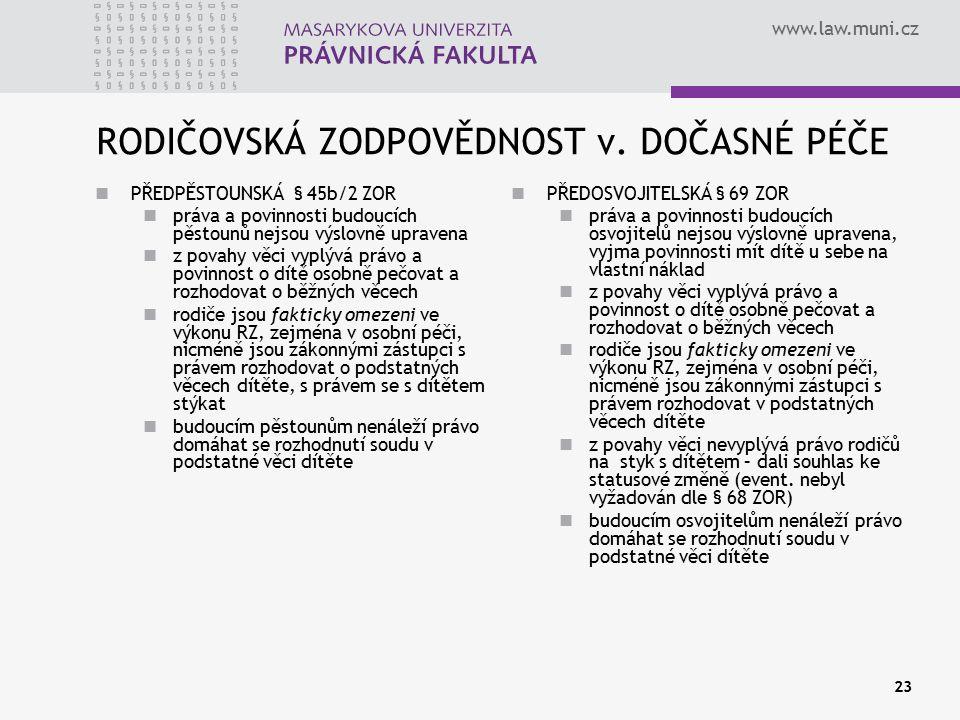 www.law.muni.cz 23 RODIČOVSKÁ ZODPOVĚDNOST v. DOČASNÉ PÉČE PŘEDPĚSTOUNSKÁ § 45b/2 ZOR práva a povinnosti budoucích pěstounů nejsou výslovně upravena z
