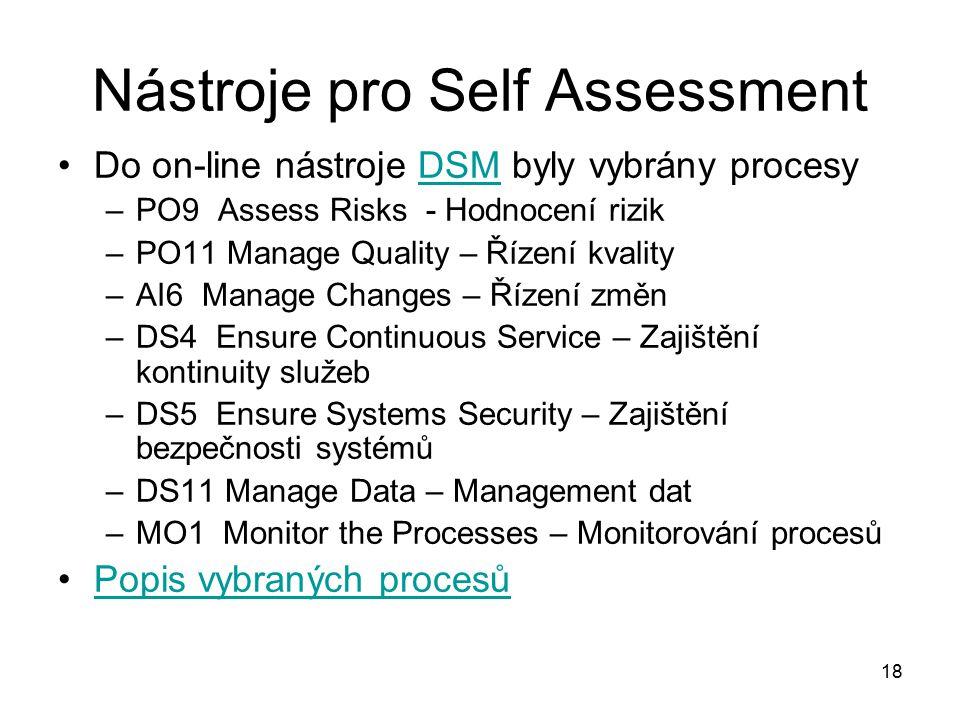 18 Nástroje pro Self Assessment Do on-line nástroje DSM byly vybrány procesyDSM –PO9 Assess Risks - Hodnocení rizik –PO11 Manage Quality – Řízení kvality –AI6 Manage Changes – Řízení změn –DS4 Ensure Continuous Service – Zajištění kontinuity služeb –DS5 Ensure Systems Security – Zajištění bezpečnosti systémů –DS11 Manage Data – Management dat –MO1 Monitor the Processes – Monitorování procesů Popis vybraných procesů