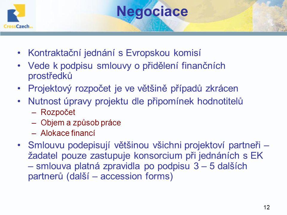 12 Negociace Kontraktační jednání s Evropskou komisí Vede k podpisu smlouvy o přidělení finančních prostředků Projektový rozpočet je ve většině případů zkrácen Nutnost úpravy projektu dle připomínek hodnotitelů –Rozpočet –Objem a způsob práce –Alokace financí Smlouvu podepisují většinou všichni projektoví partneři – žadatel pouze zastupuje konsorcium při jednáních s EK – smlouva platná zpravidla po podpisu 3 – 5 dalších partnerů (další – accession forms)