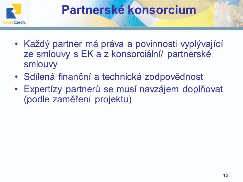 13 Partnerské konsorcium Každý partner má práva a povinnosti vyplývající ze smlouvy s EK a z konsorciální/ partnerské smlouvy Sdílená finanční a technická zodpovědnost Expertízy partnerů se musí navzájem doplňovat (podle zaměření projektu)