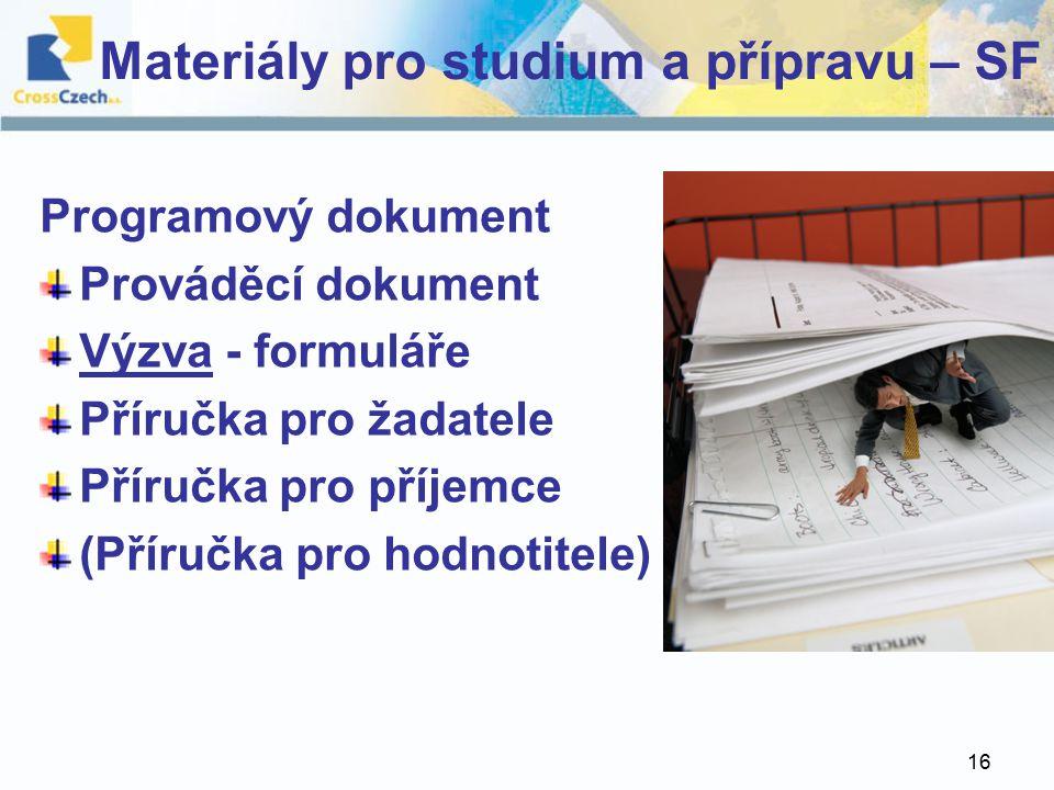 16 Materiály pro studium a přípravu – SF Programový dokument Prováděcí dokument Výzva - formuláře Příručka pro žadatele Příručka pro příjemce (Příručka pro hodnotitele)