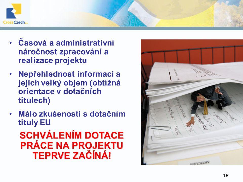 18 Časová a administrativní náročnost zpracování a realizace projektu Nepřehlednost informací a jejich velký objem (obtížná orientace v dotačních titulech) Málo zkušeností s dotačním tituly EU SCHVÁLENÍM DOTACE PRÁCE NA PROJEKTU TEPRVE ZAČÍNÁ!