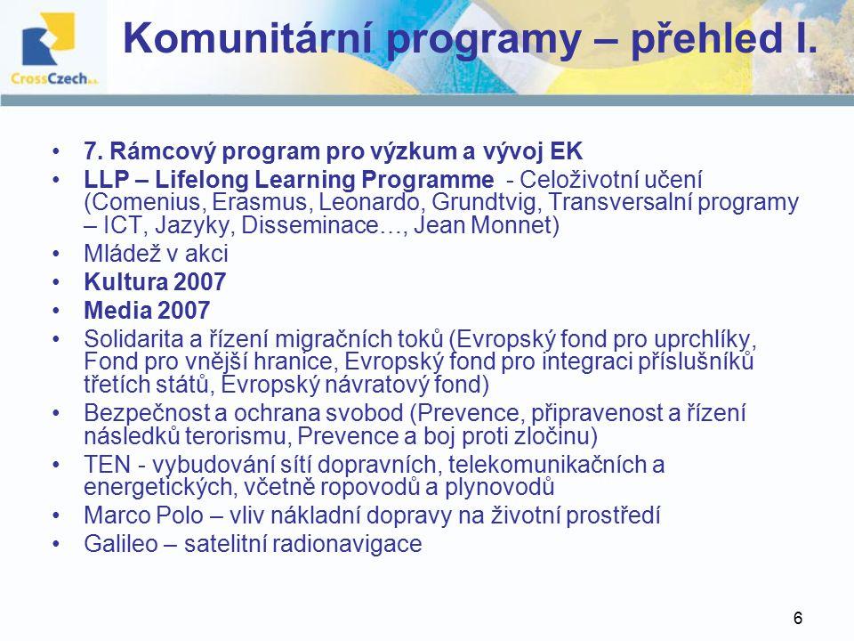 6 Komunitární programy – přehled I. 7.