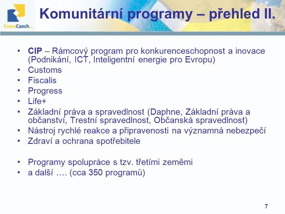7 Komunitární programy – přehled II.