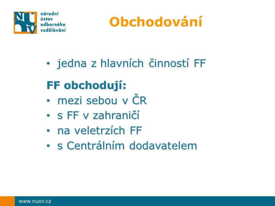 Obchodování jedna z hlavních činností FF jedna z hlavních činností FF FF obchodují: mezi sebou v ČR mezi sebou v ČR s FF v zahraničí s FF v zahraničí