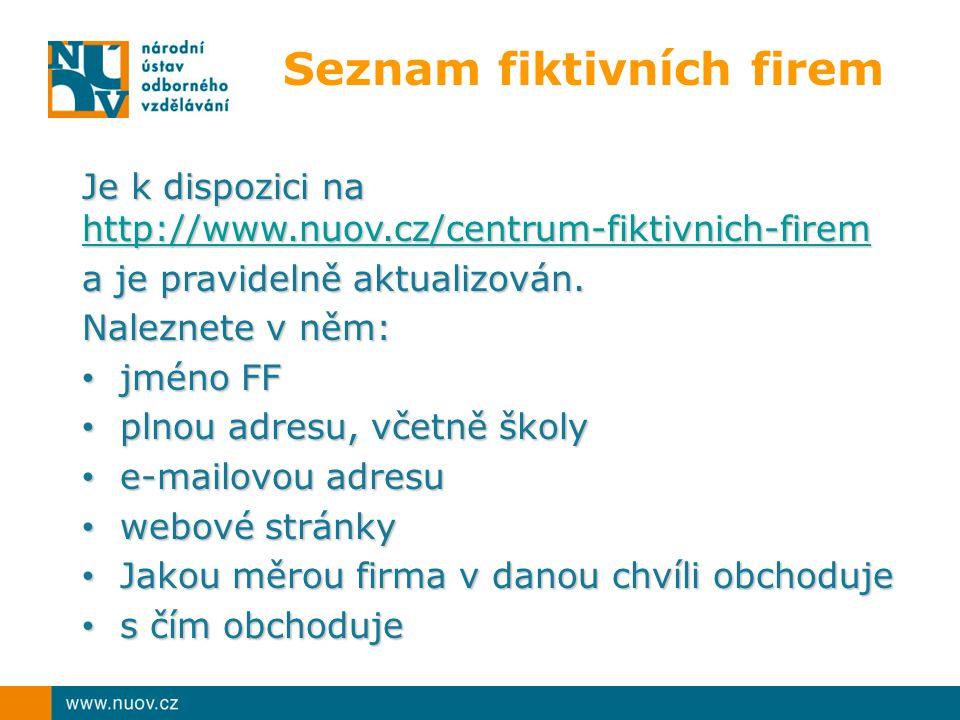 Seznam fiktivních firem Je k dispozici na http://www.nuov.cz/centrum-fiktivnich-firem http://www.nuov.cz/centrum-fiktivnich-firem a je pravidelně aktu