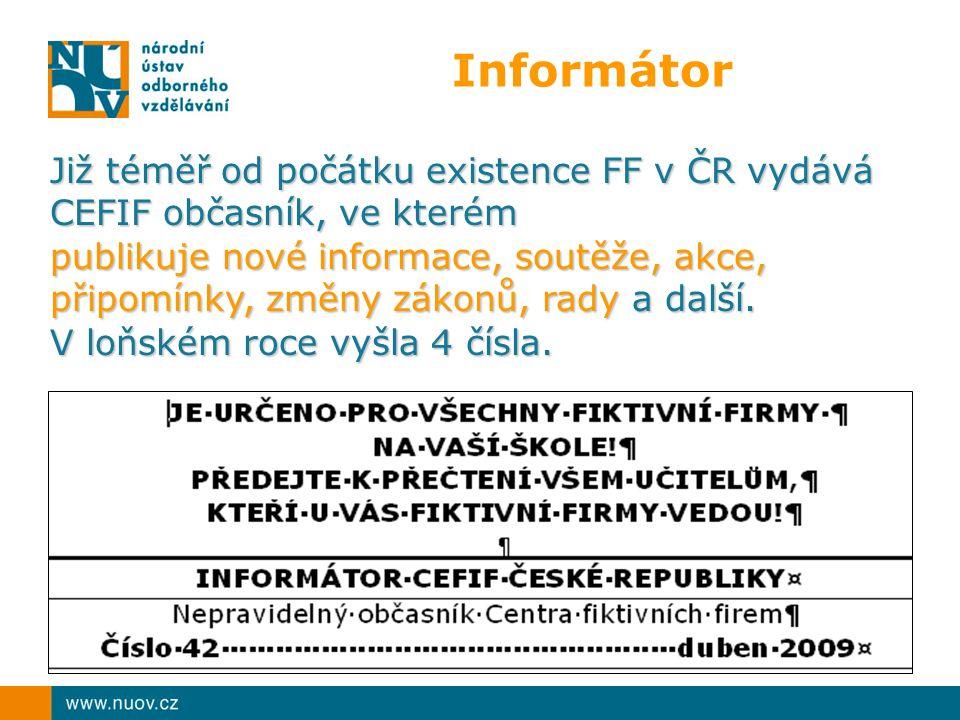 Informátor Již téměř od počátku existence FF v ČR vydává CEFIF občasník, ve kterém publikuje nové informace, soutěže, akce, připomínky, změny zákonů,